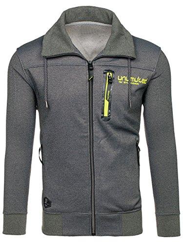 BOLF Herren Sweatshirt Sweatjacke Langarmshirt Stehkragen Zip 1A1 MIX Dunkelgrau_2085