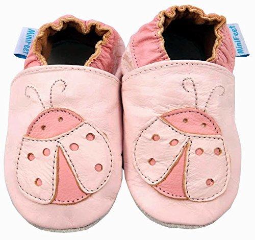 MiniFeet Chaussures Bébé - Chaussons Bébé - Chaussons Cuir Souple - Chaussures Cuir Souple - Chaussures Premiers Pas - Chaussures Bébé Fille - 0-6, 6-12, 12-18, 18-24 Mois et 2-3 Ans Coccinelle Rose