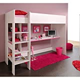 Hochbett inklusive Schreibtisch und vieler Regalfächer Weiß Spielbett Kinderbett Jugendzimmer Kinderzimmer