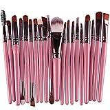 Kolylong® Make up Pinselsets Pinsel 20-tlgs schmink-pinselset Make up etui Schmink Kosmetik Lidschatten Gesichtspinsel (Pink)