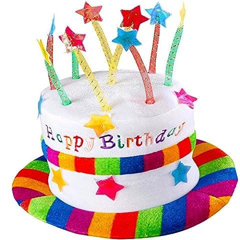 German Trendseller® - chapeau anniversaire avec bougies┃Happy Birthday coiffure┃ gâteau chapeau┃chapeau de la fête┃ attrape
