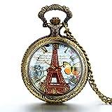 JewelryWe Reloj de Bolsillo Cuarzo Retro Vintage La Torre Eiffel Romantico Frances, Bronce Reloj de Bolsillo Con Cadena 76cm, Buen Regalo de Navidad