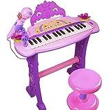 Dominiti Piano mit Mikrofon und Hocker | Viele Funktionen | Licht- und Soundeffekte | Kinder Keyboard