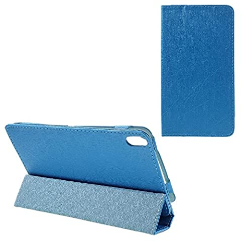 Silk Grain Leather Stand Phone Shell Cover for Lenovo Phab PB1-750N - Blue
