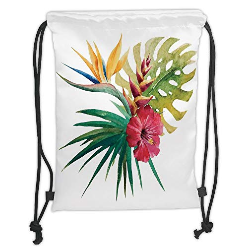 LULUZXOA Gym Bag Printed Drawstring Sack Backpacks Bags,Floral,Wild Tropical Orchid Flower with Large Leaves Exotic Tropic Petals Picture,Fuchsia Forest Green Soft Satin - Sheer Fuchsia