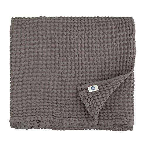 Linen & Cotton Premium-Qualität Waffel Tuch Saunatuch Strandtuch Handtücher Badetücher Duschtücher Gästehandtücher Ezra, 48% Leinen, 52% Baumwolle - 80 x 100cm (Taupe) Leinen-handtuch