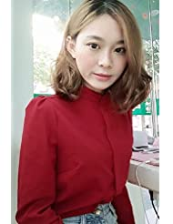 Resorte largo Coreano gasa cuello camisa manga larga camisa blanca blusa carrera blusa,L,Rojo