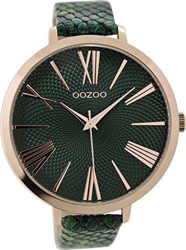 Oozoo Damenuhr mit Lederband 48 MM Rose/Dunkelgrün/Grün Snake C9216
