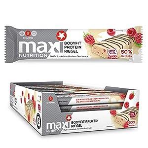MaxiNutrition Bodyfit Proteinriegel Weiße Schokolade-Himbeere - Low Carb,...