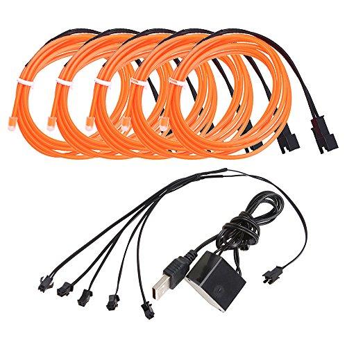 EL Kabel Wire mit USB Kontroller Flexibel Wasserdicht Innenbeleuchtung für Weihnachten Halloween Partys Kostüm Autos Dekor Geschenk (Halloween-dekor)