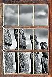 Monocrome, Moai Statuen auf den Osterinseln Fenster im 3D-Look, Wand- oder Türaufkleber Format: 62x42cm, Wandsticker, Wandtattoo, Wanddekoration