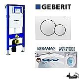 Geberit Duofix UP 320 Vorwandelement mit Sigma01, Keramag Renova Nr. 1, rimfree, Spülrandlos, Tiefspül-WC, inkl. Sitz ,Keratect Beschichtung