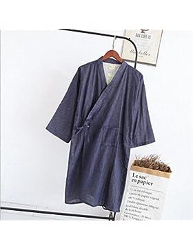 SUxian Gran Albornoz de algodón Albornoz de los Hombres Albornoz de Pijamas