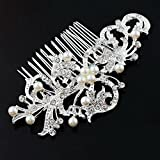 BingQing brand Hair Comb--Vintage Simulated Crystal and Pearl Side Combs Bridal Headpiece Wedding Accessories for Wedding--Ly01
