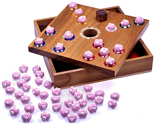 Logoplay Holzspiele Pig Big Schweinchenspiel – Würfelspiel – Gesellschaftsspiel – Brettspiel aus Holz