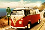Poster VW-Bus Californian Camper - route one - Größe 61 x 91,5 cm - Maxiposter