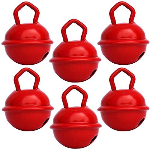 Grelots clochettes Rouge (6X 15mm) Beau son Grelots couleurs Musikid géants gros petits pour Montessori enfants bebe instrument Noel anniversaire chat chien décorations doudou Bola loisirs créatifs