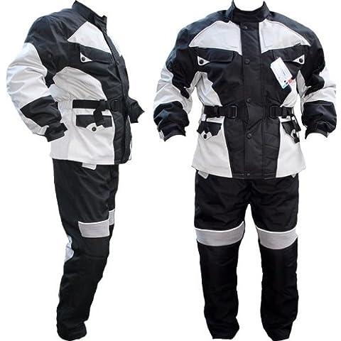 German Wear Moto combinado Cordura Textiles Moto Chaqueta + Pantalón de Motorista, negro/gris