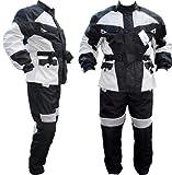 German Wear Motorradkombi Cordura Textilien Motorradjacke + Motorradhose, Schwarz/Hellgrau, 48