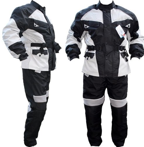 *German Wear Motorradkombi Cordura Textilien Motorradjacke + Motorradhose, Schwarz/Hellgrau, 48*