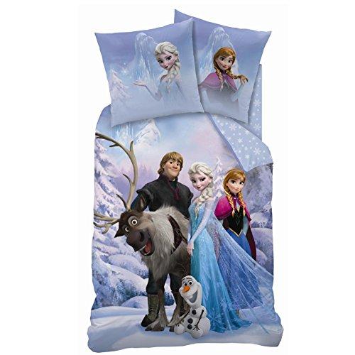 Juego de cama con funda nórdica (140 x 200 cm) y funda de almohada (63 x 63 cm), diseño de Frozen: El reino del hielo