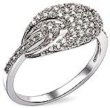 AnaZoz Bague Femme Mariage Élégant 18K Plaqué Or Incrusté Zircon Cubique Cristal Tandem Ovale Design Blanc Or Taille 56.5 Bague de Fiançailles Accessoires de Mariée