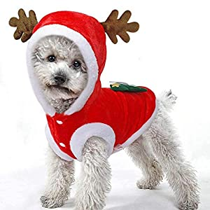 Dog-Christmas-CostumeWarm-Flannel-Santa-Claus-Pet-Coat-HoodieDog-Outfit-Clothes-For-Large-Small-Dogs-Cats-Outfit-XL-XS-LWinter-Pet-Jumper-with-Hat-and-Ears-for-Puppy-Kitty