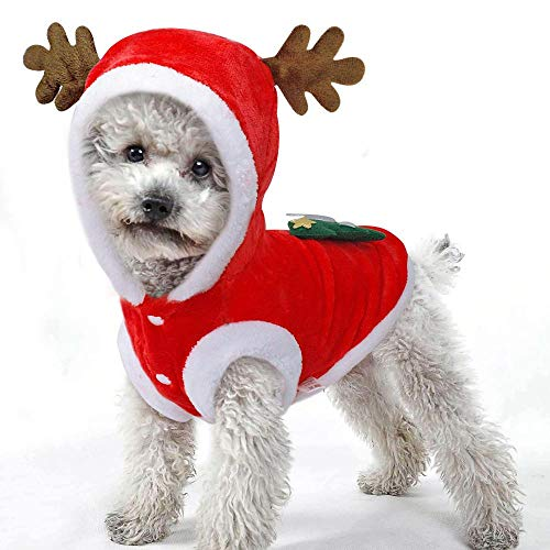 Aolvo Hunde-Weihnachts-Outfit mit Rentier-Motiv, Weihnachts-Outfit, modisch, für Welpen, Mantel, Kostüm, Party-Anzug, für ForTeddy, Yorkshire Terrier, Chihuahua, Festliche Geschenke