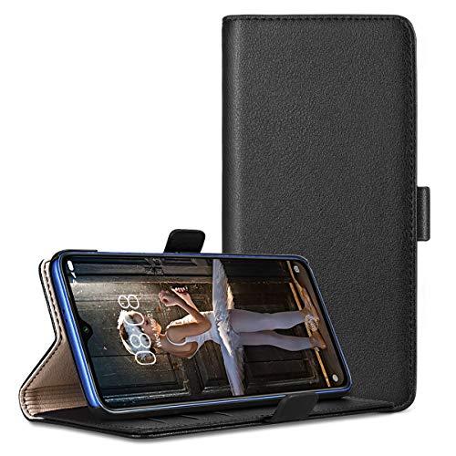 RuiPower para Funda Xiaomi Mi 9 SE Carcasa Libro con Tapa Flip Folio Case de PU Cuero Silicona Soporte Plegable Ranuras Tarjetas y Billetera Magnético Ultra-Delgado Cover - Negro