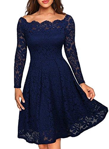 Vestidos goticos Miusol Vintage Encaje Floral Azul