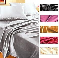 Idea Regalo - Completo MATRIMONIALE RASO set lenzuola sopra sotto con angoli 2 fodere cuscini 6 colori mod.SET LENZUOLA RASO PORPORA (A)