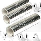NEU Luftschlangen, 3er Pack, Metallic silber