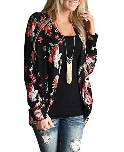 FASTYLING Women Casual Cardigan Long Sleeve Kimono Irregular Floral Printed Coat Tops Outwear