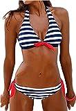 Sixyotie Femme Maillot de Bain Deux Pièces Bikini Set à Rembourré Rayures Halterneck Eté (Bleu, M(FR 32-34))