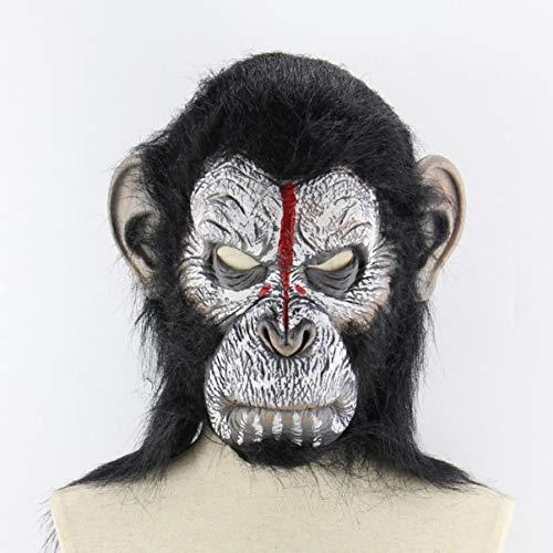 (JullyeleDEgant Planet der Affen Halloween Cosplay Gorilla Maskerade Maske Affenkönig Kostüme Kappen Realistische Affenmaske)