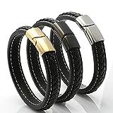 Aooaz Gioielli braccialetto catena anelli acciaio inossidabile Corda in pelle intrecciata bracciale uomo bracciale vintage Silver 20,5cm
