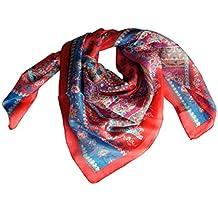 Foulard 100% soie carré 100 x 100 cm rouge et bleu 392c26dc852