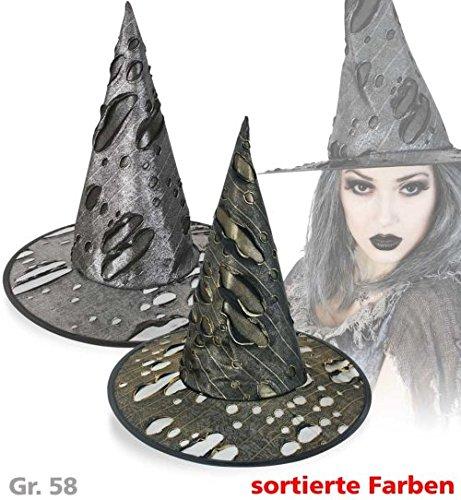 Metallic Hut Hexe (Hexenhut Zombie-Hexe Metallic-Optik silber Halloween Zauberer Hut Gr. Ca)