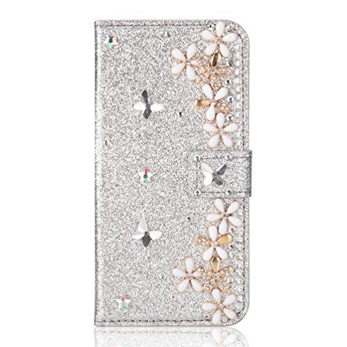 Ansehnliche Modisch BookStyle für Samsung A3 2017, Funkeln Bling Glitzer Diamant Slim Hülle Ledertasche Scratch Bumper Flip Folio Wallet Stand Card Slots Pocket Magnetverschluss Leder Etui