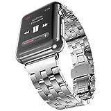 Surwin 38 mm Apple Watch Strap, iWatch Armband aus Edelstahl Wrist Watch Band Handgelenk Band Uhrenarmband mit Metallschließe - Silber