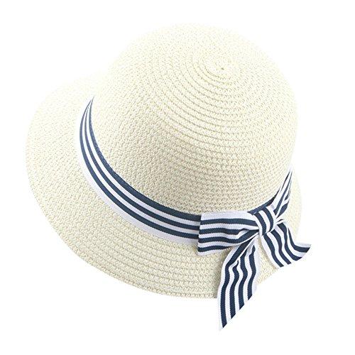 inder Mädchen Fedora Hut Strand Sonnenhut Mütze Faltbarer Strohhut Trilby Gangster Hut mit Sonnenschutz breite Krempe und Bowknot für 2-6 Jahre altes Baby (Weiß) (Mädchen Gangster Outfit)