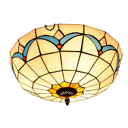 Vintage Tiffany-Art-Deckenleuchten, Kreative mediterrane Weinlese Tiffany Farbiges Glas Aisle Flur Balkon Schlafzimmer Glasdeckenleuchte 40CM Tiffany-Art-Deckenleuchten Europäische Retro Buntglas-Deck