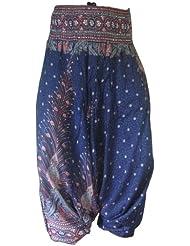 Panasiam Aladin Pants, Print-Design-style: 'V' Peacock (limitierte Auflagen) Naturstoff!! Das Original, Qualitätshose, hier zum Aktionspreis..