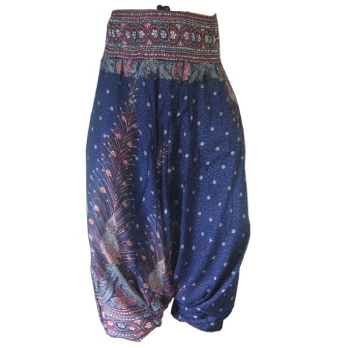 PANASIAM Aladin Pants, Print-Design-Style: Peacock v05 - Loose Fit Hose Arbeit