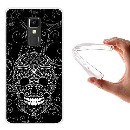 Elephone S3 Hülle, WoowCase Handyhülle Silikon für [ Elephone S3 ] Schwarzer zuckeriger Totenkopf Handytasche Handy Cover Case Schutzhülle Flexible TPU - Transparent