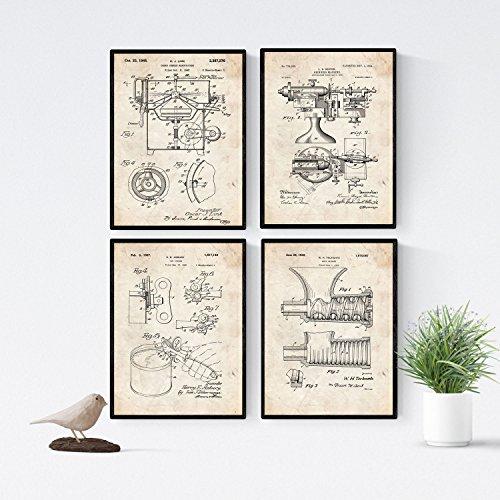 Nacnic Vintage - Packung mit 4 Blatt mit PATENTEN Küche. Stellen Sie Plakate mit Erfindungen und Alten Patenten. Wählen Sie die Farbe, die Sie mögen. Gedruckt auf hochwertigen 250 Gramm