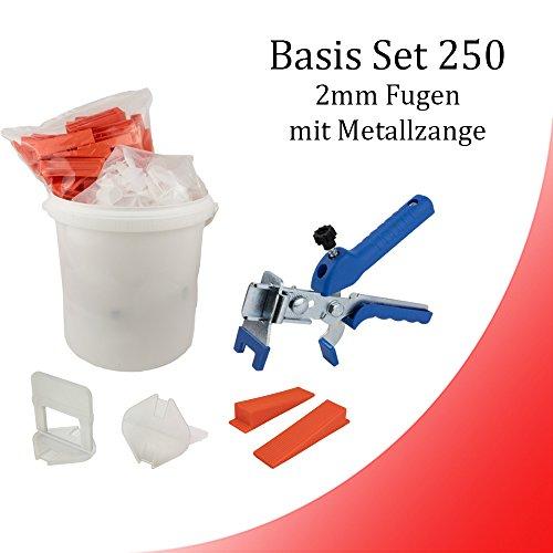 Fliesen Nivelliersystem 2 mm Basis-Set 250 Laschen u. 250 Keile + Metallzange