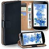 moex LG Google Nexus 4 | Hülle Schwarz mit Karten-Fach 360° Book Klapp-Hülle Handytasche Kunst-Leder Handyhülle für LG Google Nexus 4 Case Flip Cover Schutzhülle Tasche