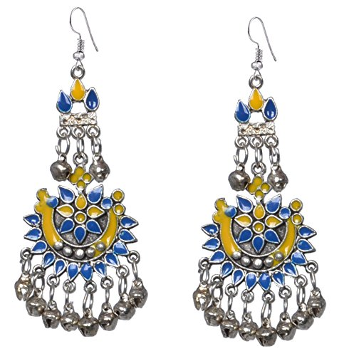 Sansar India Oxidized Silver Plated Kuchi Afghani Tribal Dangler Hook Chandbali Earrings for Girls and Women