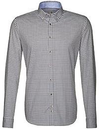 Seidensticker Herren Langarm Hemd Schwarze Rose Slim Fit Button-Down-Kragen grau / weiß kariert mit Patch 240327.34